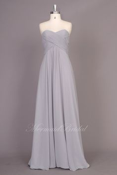 Simple silver Chiffon Long prom dress, evening dress, Party dresses, Long Bridesmaid Dress With Sweetheart Neckline