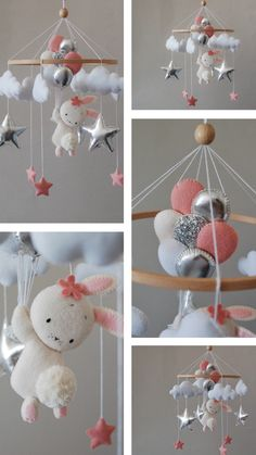 Baby mobile girl bunny pink nursery mobile balloons and starts eco-friendly toy starts felt hanging crib mobile newborn baby shower gift Handgemachtes Baby, Baby Boy Toys, Felt Baby, Baby Cribs, Baby Mädchen Mobile, Baby Mobiles, Fiesta Baby Shower, Diy Crib, Handmade Baby Gifts