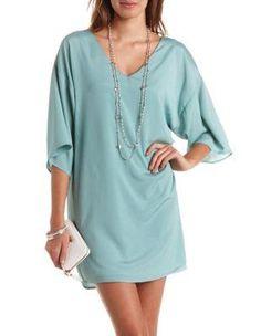 Kimono Sleeve V-Neck Shift Dress by Charlotte Russe - Dusty Blue
