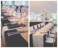 Tall Crystal and Floral Wedding Centerpieces with White Orchids and Roses and Black Linens with Gold Accents and Black and Gold Menu Cards in Sarasota Outdoor Reception Tent | Sarasota Wedding Planner NK Productions