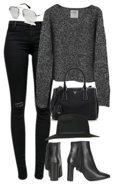 """Untitled #2873"" by charline-cote ❤ liked on Polyvore featuring J Brand, Prada and Topshop"