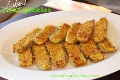 Baked {not fried!} Pickles  I just used hamburger dills an egg and some Panko bread crumbs. 400* for about 10-15 minutes depending on your oven! Super easy, super yummy!