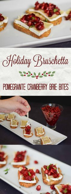 A slightly sweet and tangy cranberry pomegranate and basil relish topping a brie laden peppered toast making Holiday Bruschetta. #SundaySupper