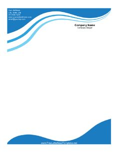 Waves in shades of blue cascade on this printable letterhead. Free to download and print