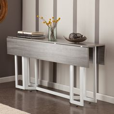 Drop Leaf Console Table.  Doubles as a console table and a dining table.