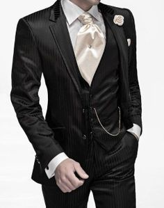 Fashionable Two Button men suit Black Stripe Groom Tuxedos Groomsmen Mens Wedding Suits Prom Bridegroom (Jacket+Pants+Vest+Tie) Groomsmen Suits, Mens Suits, Mens Tux, Sharp Dressed Man, Well Dressed Men, Wedding Men, Wedding Suits, Wedding Attire, Suit Fashion