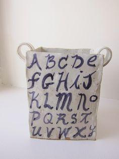 Untitled (Alphabet Square Pot #1), 8 x 8 x 4.5 inches, 2013,       David Korty,