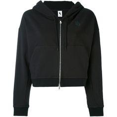 Nike cropped zip hoodie (4.850 UYU) ❤ liked on Polyvore featuring tops, hoodies, jackets, black, casacos, sweaters, long sleeve hooded sweatshirt, zip hoodies, cropped hooded sweatshirt and hoodie crop top
