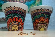...... Ceramic Pots, Terracotta Pots, Clay Pots, Painted Plant Pots, Painted Flower Pots, Diy Planters, Planter Pots, Clay Pot Crafts, Concrete Pots