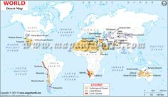 World Desert Map along the Tropics of Cancer and Capricorn