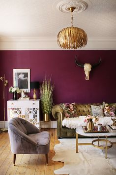 Updates in the Living Room - Swoon Worthy - Let There Be Light! Updates in the Living Room – Swoon Worthy plum living room with gold accents and olive green velvet sofa Plum Living Rooms, Living Room Green, Living Room Sofa, Living Room Interior, Living Room Furniture, Apartment Living, Living Room Decor Green, Living Room Wall Ideas, Accent Walls In Living Room