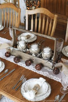 Rustic Wood Centerpiece- Easy tutorial featured on the cover of Jo-Ann Fabric and Craft Winter Look Book!