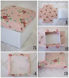 Best 11 Giving a gift in a pretty box, is almost like giving two gifts. A gift box can be used to store all manner of things – jewellery, craft supplies, and other treasures. We love the effect from using a white box with a patterned, fabric lid. A fabric Fabric Covered Boxes, Fabric Boxes, Fabric Basket, Cardboard Crafts, Fabric Crafts, Diy Storage Boxes, Fabric Storage, Creation Deco, Pretty Box