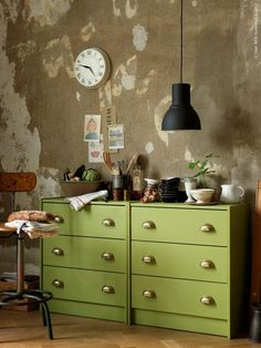 Ikea RAST chest of drawers: painted, fitted wtih FÅGLEBODA handles