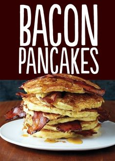 Because who doesn't love bacon! Treat dad or grandpa to these Bacon Pancakes for Father's Day Breakfast or Brunch! So simple + easy to put together, and so, so delicious. I Love Food, Good Food, Yummy Food, Tasty, Delicious Recipes, Easy Recipes, Brunch Recipes, Breakfast Recipes, Pancake Recipes