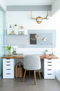 desk with gray paint stripe above and antlers Home Office Design, House Design, Home Improvement Projects, Small Workspace, Ikea Storage Cabinets, Office Exercise, Workout Rooms, Diy Desk, Small Spaces