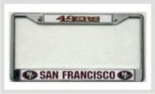 """This is an official Licensed NFL Football San Francisco 49ers Team Metal License Plate Frame Product. Chrome metal frame fits all standard 6""""x12"""" license plates. Durable chrome-plated cast zinc with raised lettering and team logo on a plastic inserts. Comes with pre-drilled holes on top for easy mounting on your vehicle."""