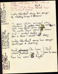 David Bowie's handwritten lyrics Lady Stardust
