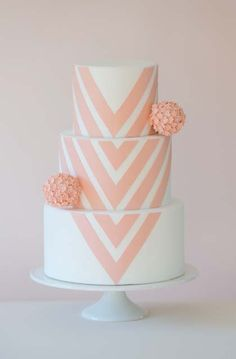 Vintage Rose Chevron 3 Tier Cake | Birthday Cake, Patterned Cakes, Pink Cakes, Wedding Cakes | Beautiful Cake Pictures