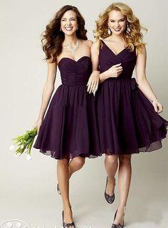 Wholesale Evening Dress - Buy 2014 New Chiffon Purple Grape Royal Blue Sliver Red Maid of Honor Dress Cheap Short Junior Bridesmaid Dresses Formal Bridesmaids Gown, $48.65 | DHgate