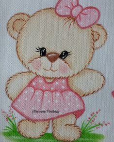 Ursinha- Marcele Pinturas Folk Embroidery, Embroidery Patterns, Crochet Patterns, Kids Cartoon Characters, Blue Nose Friends, Cute Coloring Pages, Bear Pictures, Learn Art, Cute Teddy Bears