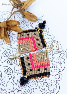 Bollywod style ! Micro macrame earrings, linen, black and neon colors. Czech glass, japanese seed beads and rhinestones.   Available in my shop.  © Natacha Fayard