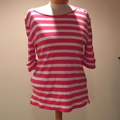 """Ralph Lauren Pink & White stripe top. Size XL Like new Ralph Lauren Pink & White stripe top with gold buttons. Size XL 24"""" long Lauren Ralph Lauren Tops Blouses"""