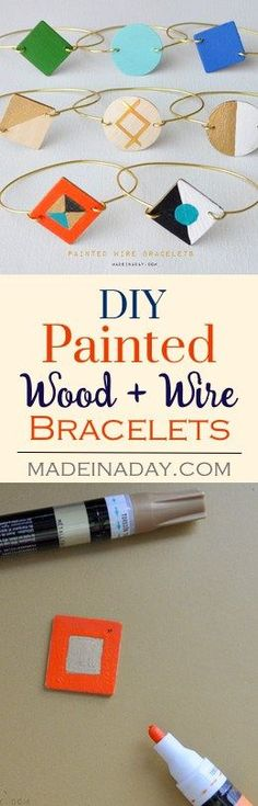 Painted Wood Wire Bracelets, Learn to make these adorable painted wood & gold wire bracelets, DIY jewelry, gold wire bracelets madeinaday.com via @madeinaday