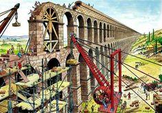 Construcción de un acueducto romano.