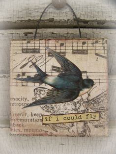 Original Collage Vintage Bird Collage Altered Mixed by QueenBe