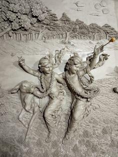 TOVP: Beautiful relief panel work of Krishna and Balarama almost ready (Album of photos) Shiva Art, Ganesha Art, Krishna Art, Krishna Lila, Shree Krishna, Clay Wall Art, Mural Wall Art, Murals, Krishna Statue