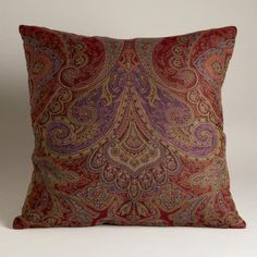 You'll love the rich paisley tones of #WorldMarket's exclusive Red and Purple Paisley Jacquard Woven Pillow. Both affordable and stylish with its authentic Indian designs, it'll bring a global appeal into your home.