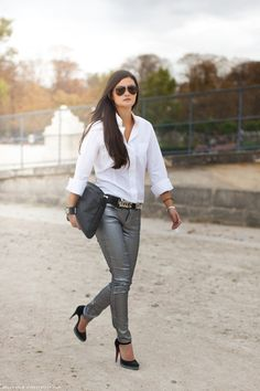 White Oxford + Metallic Pants