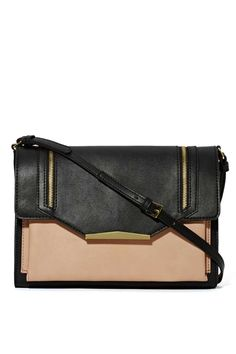 This black and nude faux leather crossbody is the perfect go-to bag.