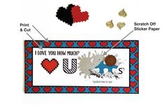 Love U 2 Pieces - One design, two different Valentine's cards. designed by Janet Packer (Crafting Quine) for the Silhouette UK Blog. Uses Jigsaw puzzle pieces and scratch off sticker paper.