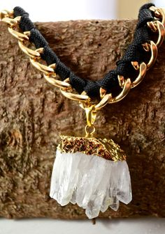 Statement Kette mit vergoldetem Bergkristallcluster | Crystal and Sage Jewelry