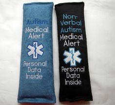 Autism Car Decal, Autism Mom, Autism Medical Alert, Autism ID Tag, Autism Seat Belt Wrap, Seat Belt Cover, Medical Alert, Medical ID Tag by SewGoodbyDolores on Etsy