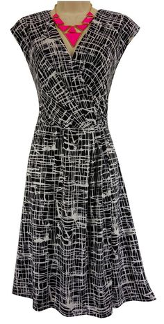 18/20W 2X SEXY Womens BLACK/WHITE ABSTRACT DRESS Day/Evening Wedding PLUS SIZE #Cato #EmpireWaist #Versatile