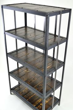 "Industrial Reclaimed wood & steel bookshelf  $695  --   Dimensions 23""x16""x60""tall"