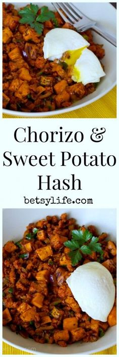 Chorizo and Sweet Potato Hash Recipe. Easy dinner with an egg on top.