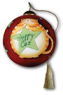 Ne'Qwa Art Hand-Painted Orange Tabby Glass Christmas Ornament HAPPY CAT by Susan Winget