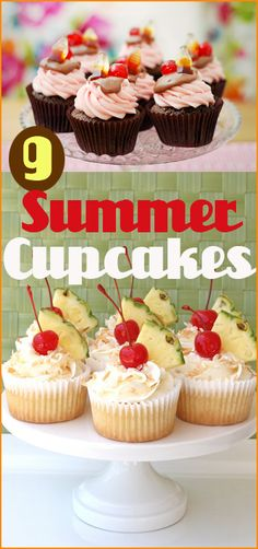 9 Summer Cupcakes. Creative cupcakes for summer BBQ's, family parties and kids parties.