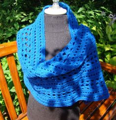 Shimmering sapphire blue hand crocheted shawl by BearMtnCrochet, $65.00