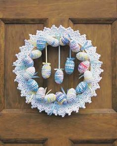 Easter Egg Wreath--for the ambitious and those who are really into their Easter decorating.  I think it's neat to look at and admire, especially since I doubt I'd get through making all the different eggs.  Cudos to the crafty person who created it!