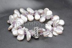 Natürliche kultivierte Süßwasserperlen Armband, mit Amethyst, Sterling Silber Schiebeverschluss, natürlich, 12-15mm, verkauft per ca. 8 Inch...