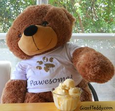"""Ice Cream! Summer wouldn't be the same without it, and Giant Teddy bears celebrate July Ice Cream Month with gusto! (Shown: 38in Sunny Cuddles in a personalized paw print shirt """"Pawesome"""") Read our Ice Cream Trivia blog and find out where it was illegal to serve pie with ice cream on it."""