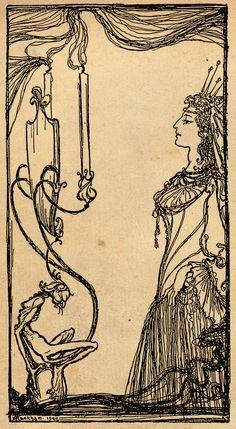 'Mirror, mirror on the wall' Illustration by Arthur Rackham from the book 'Snowdrop and Other Tales' http://www.amazon.com/gp/product/1447477375/ref=as_li_tl?ie=UTF8&camp=1789&creative=9325&creativeASIN=1447477375&linkCode=as2&tag=reaboo09-20&linkId=3M2TE5OS2H4REJZ2