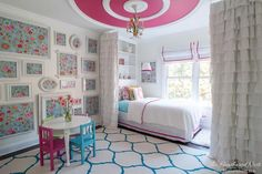 Beautiful pink and turquoise girls bedroom reveal from www.heatherednest.com ~ love the ceiling medallions--left a comment asking where to find.