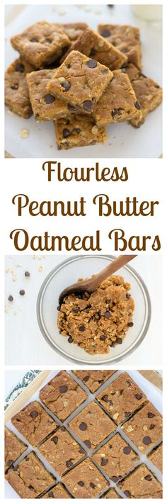 Flourless Peanut Butter Oatmeal Bars with Chocolate. Soft, chewy, and dangerously easy to make! Ready? There's NO BUTTER. PB is all you need for the perfect texture. (gluten free)