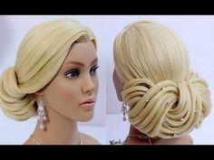 Elegant updo. Wedding prom hairstyles for long hair. Tutorial - YouTube